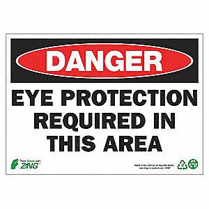 SIGN DANGER EYE PROTECTION 10X14 AL