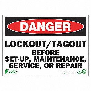 SIGN DANGER LOCKOUT-TAGOUT 10X14 AL
