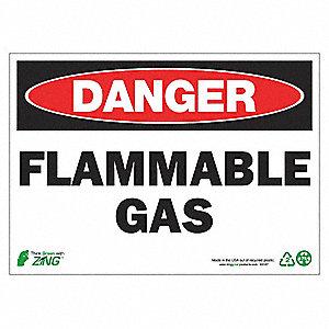 SIGN DANGER FLAMMABLE GAS 10X14 AL