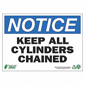 SIGN NOTICE CYLINDER CHAIN 10X14 AL