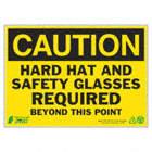 PANN CAUTION HARD HAT REQ 10X14 AL
