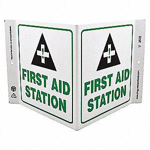 V SIGN FIRST AID STATION 7X12 PL