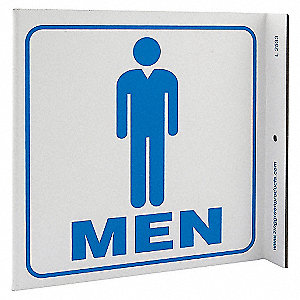 L SIGN RESTROOM MEN 7X7 PL