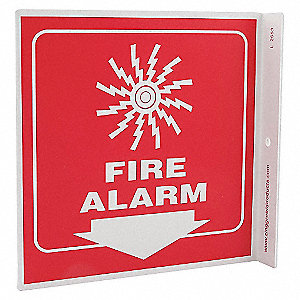L SIGN FIRE ALARM 7X7 PL