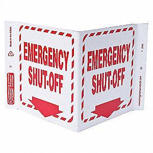 V SIGN EMERGENCY SHUT OFF 7X12 PL