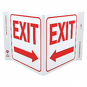 V SIGN EXIT LEFT ARROW 7X12 PL
