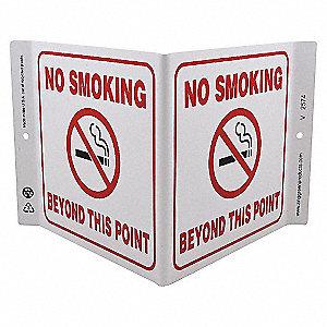 V SIGN NO SMOKING BEYOND 7X12 PL