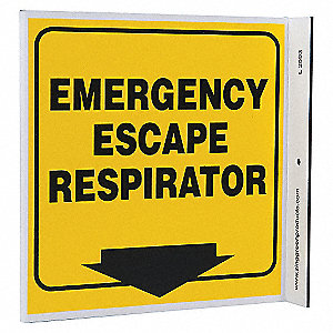 L SIGN EMERGENCY RESPIRATOR 7X7 PL