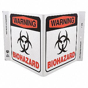 V SIGN WARNING BIOHAZARD 7X12 PL