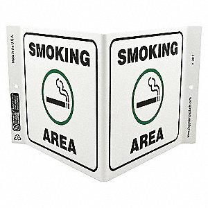 V SIGN SMOKING AREA 7X12 PL