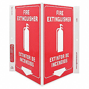 V SIGN FIRE EXTINGUISHER 11X12 PL