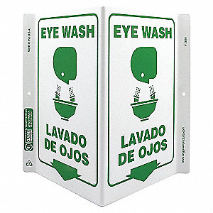 V SIGN EYE WASH BILINGUAL 11X12 PL