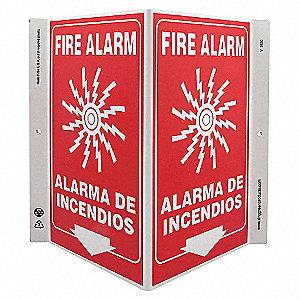 V SIGN FIRE ALARM BILINGUA 11X12 PL