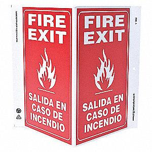 V SIGN FIRE EXIT BILINGUAL 11X12 PL