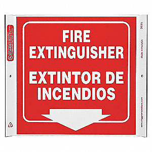 CORNER SIGN FIRE EXTINGUIS 10X10 PL