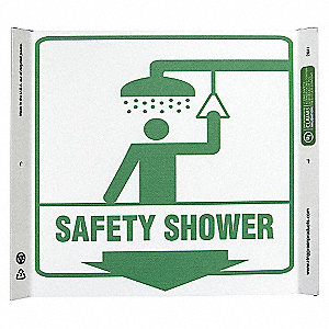 CORNER SIGN SAFETY SHOWER 10X10 PL