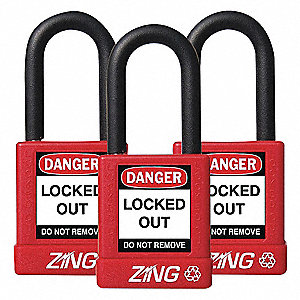 PADLOCK 1.5IN SHACKLE RED KA 3 PK