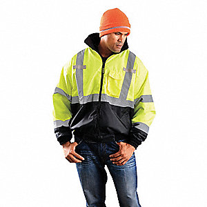 Jacket,Insulated,3XL,Yellow,30-1/2inL