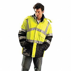 Jacket,Insulated,5XL,Yellow,36inL