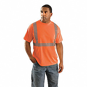 Orange Wicking Birdseye T-Shirt, Size: 2XL, ANSI Class 2