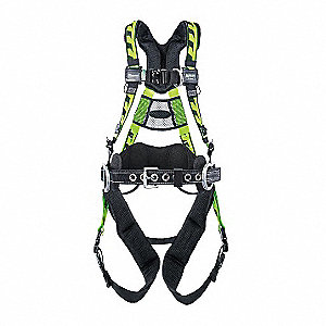 2XL Tower Climbing Full Body Harness, 5000 lb. Tensile Strength, 400 lb. Weight Capacity, Green