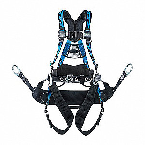 L/XL Tower Climbing Full Body Harness, 5000 lb. Tensile Strength, 400 lb. Weight Capacity, Blue