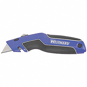 "Black/Blue,Carbon Steel Utility Knife,6-5/8"" Overall Length,Number of Blades Included: 5"