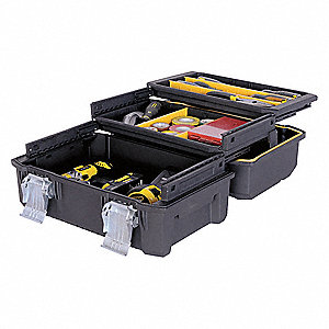 "Structural Foam Portable Tool Box, 12-7/64""H x 17-29/32""W x 8-3/4""D, 2075 cu. in., Black"
