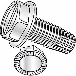 "1"" Steel Thread Cutting Screw with Hex Washer Head Type; PK100"