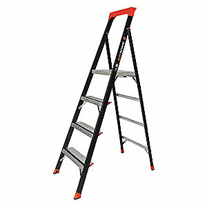 "Fiberglass Platform Stepladder, 6 ft. Ladder Height, 3 ft. 9"" Platform Height, 375 lb."
