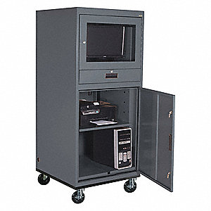 Steel Mobile Computer Cabinet, Charcoal