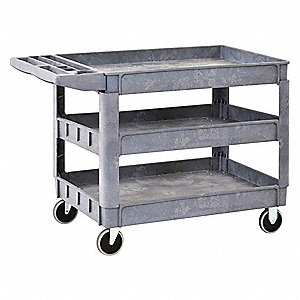 Plastic Flat Handle Deep Shelf Utility Cart, 550 lb. Load Capacity, Number of Shelves: 3