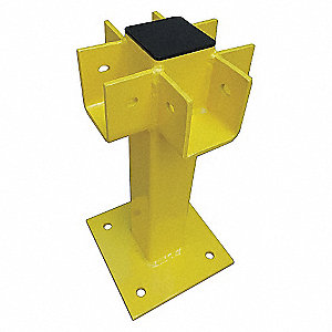 FOUR WAY POST 45 IN. YELLOW STEEL