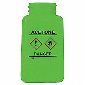 6 oz. Graduated Acetone Bottle, Wide Mouth, High Density Polyethylene, EA 1