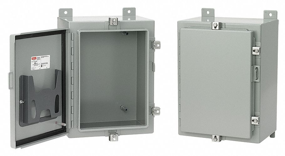 30 In H x 30 In W x 8 In D Metallic Enclosure, Gray, Knockouts: No, Screwdown Clamps Closure Method