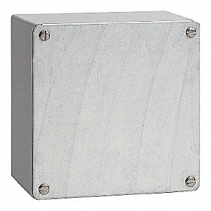 "8""H x 8""W x 4""D Metallic Enclosure, Gray, Knockouts: No, Screws Closure Method"