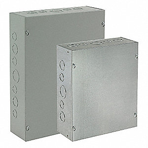 "8""H x 6""W x 4""D Metallic Enclosure, Gray, Knockouts: Yes, Screws Closure Method"