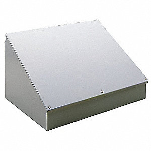 "12""H x 24""W x 9""D Metallic Sloped Top Enclosure, Gray, Knockouts: No, Screws Closure Method"
