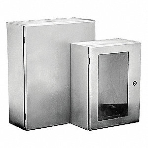 "20""H x 16""W x 6""D Metallic Enclosure, Gray, Knockouts: No, 1/4 Turn Latch Closure Method"