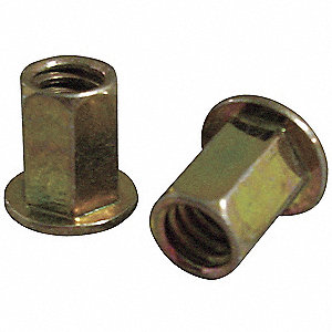 Rivet Nut,Hex,Steel,Clear Trivalent,PK25