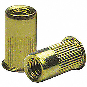 "Steel Knurled Flanged Rivet Nut 0.805"" L, 5/16""-18 Dia./Thread Size, 25 PK"