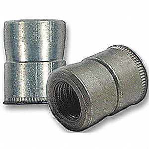 "Steel Swaged Rivet Nut 0.370"" L, #6-32 Dia./Thread Size"