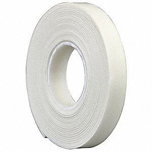 "Vinyl Foam Double Sided Foam Tape, Acrylic Adhesive, 1/16"" Thick, 3/4"" X 5 yd., White"