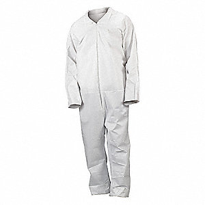 Collared Disposable Coveralls with Open Cuff, White, XL, Advanced Microporous