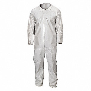 Collared Coverall,Elastic,White,L,PK25