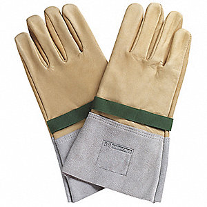 "Electrical Glove Protector, Beige/Grey, Silicon Leather, 11-13/16"" Length"