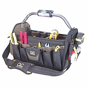 Polyester Tool Bag, General Purpose, Number of Pockets: 37, Black/Brown