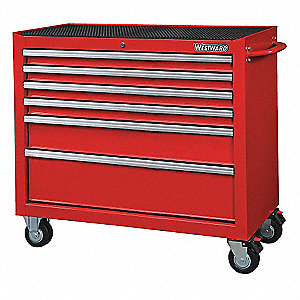 "Red Heavy Duty Rolling Cabinet, 39-13/16"" H X 42"" W X 18-15/16"" D, Number of Drawers: 6"