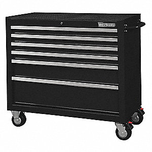 "Black Heavy Duty Rolling Cabinet, 39-13/16"" H X 42"" W X 18-15/16"" D, Number of Drawers: 6"