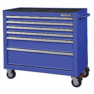 "Blue Heavy Duty Rolling Cabinet, 39-13/16"" H X 42"" W X 18-15/16"" D, Number of Drawers: 6"
